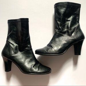Aerosoles• leather black mid calf heeled boot